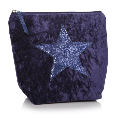 Velvet Effect Star Wash Bag/Clutch - Navy