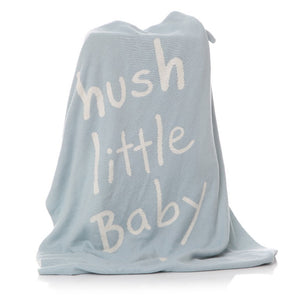 Blue blanket with white hush little baby print