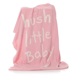 Pink blanket with white hush little baby print