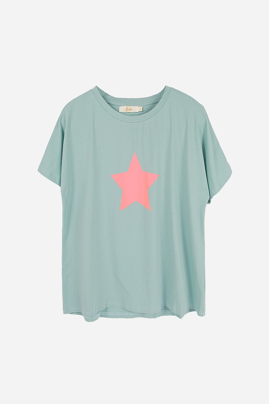 sage green t shirt with pink star