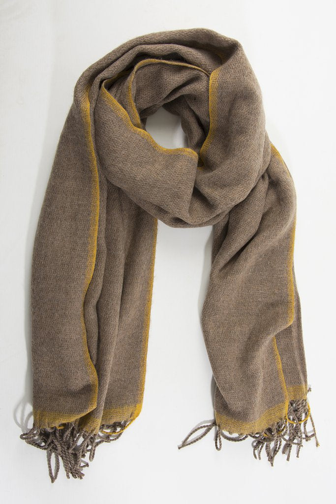 Taupe winter scarf with mustard yellow trim and tassels