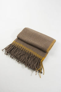 Taupe Winter Scarf With Mustard Trim
