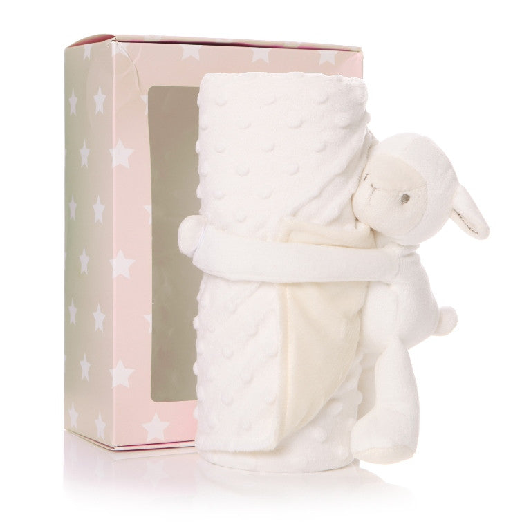 Cream lamb comforter with cream blanket and box packaging