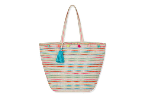 Fluoro Beach Bag With Pom Poms And Tassel