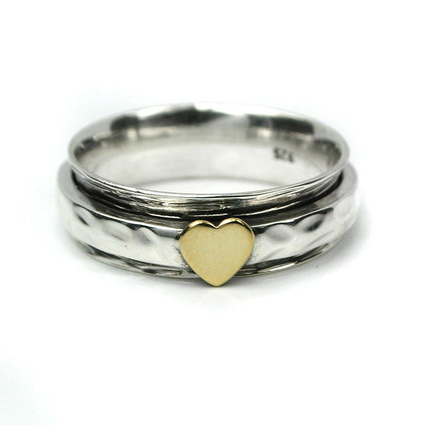 Sterling Silver Spinning Ring With Heart Detail