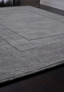 Modern Grey Rug with rectangle ridge pattern