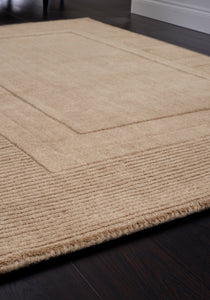 Modern Cream Rug with rectangle ridge pattern