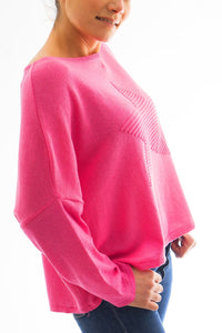 Fuchsia Pink Jumper With Raised Star Motif