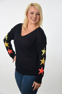 Navy v neck cotton jumper with orange and yellow stars on sleeves
