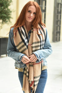 Camel and Black Check Winter Blanket Scarf