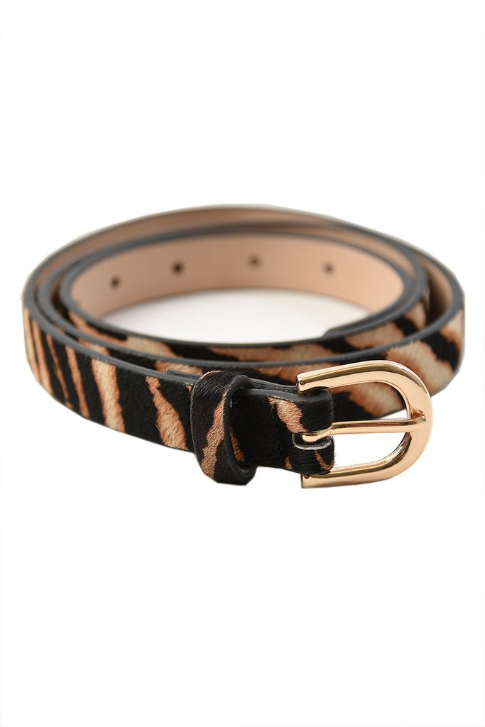 Brown Zebra Print Cowhide Belt - Medium