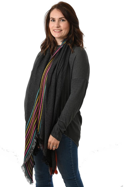 Rainbow Stripe Winter Blanket Scarf