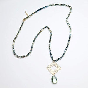 Long Gold filagree necklace with gold and grey beads