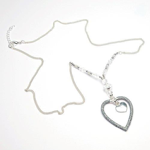 Glitter heart long pendant necklace in silver with beads