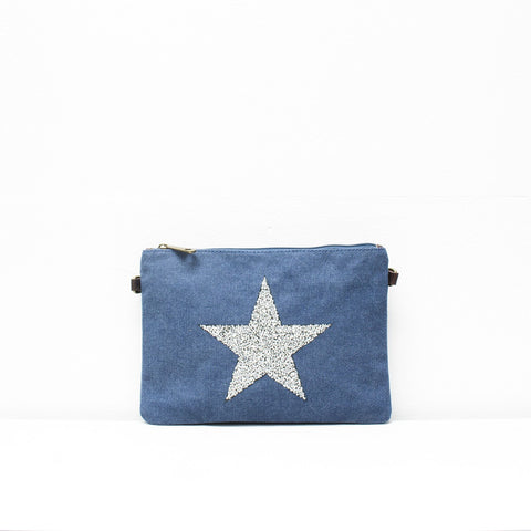 Star Canvas Clutch With Detachable Strap