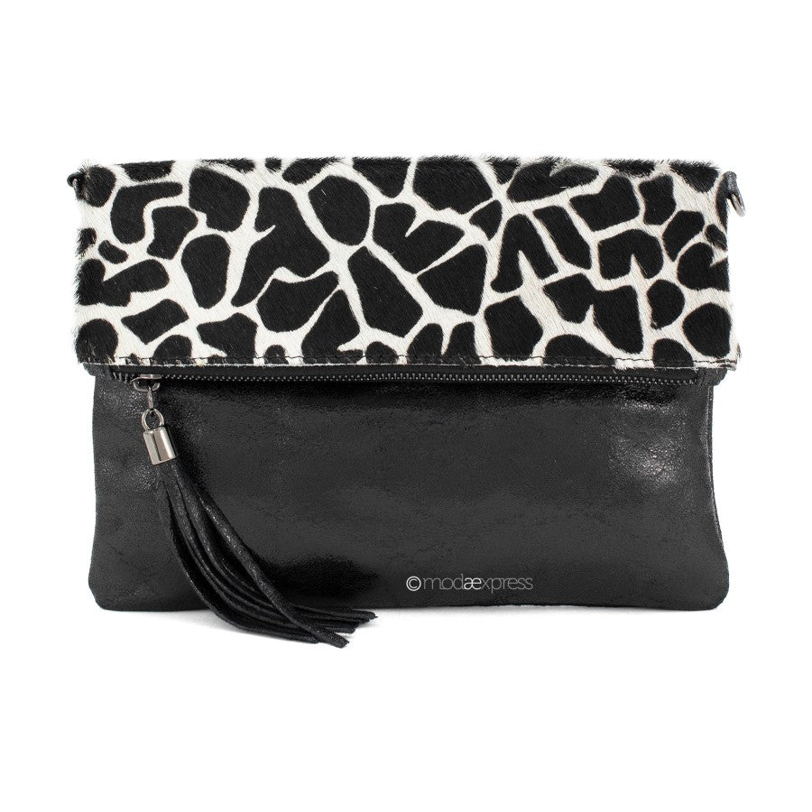 Black leather bag with giraffe print fold over section and black tassel