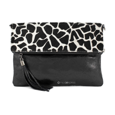 Giraffe Print Foldover Leather Clutch With Detachable Strap