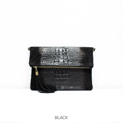 Croc Print Leather Clutch With Detachable Strap - Black