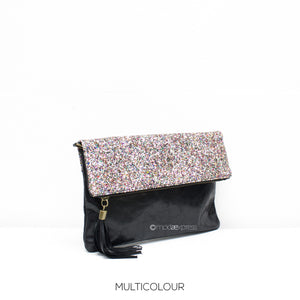 Black leather bag with multicolour glitter fold over and black tassel
