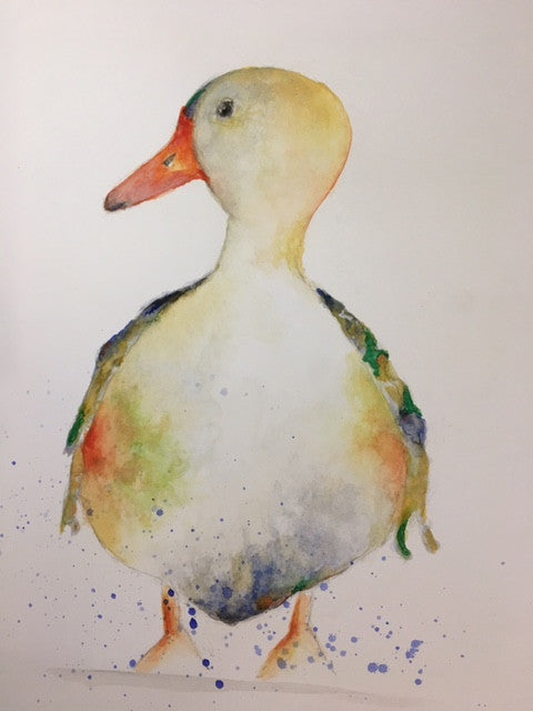 Watercolour print of colourful duck looking left with water splashes at bottom