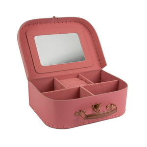 Pink jewellery carry case with gold pretty little thing writing on the front