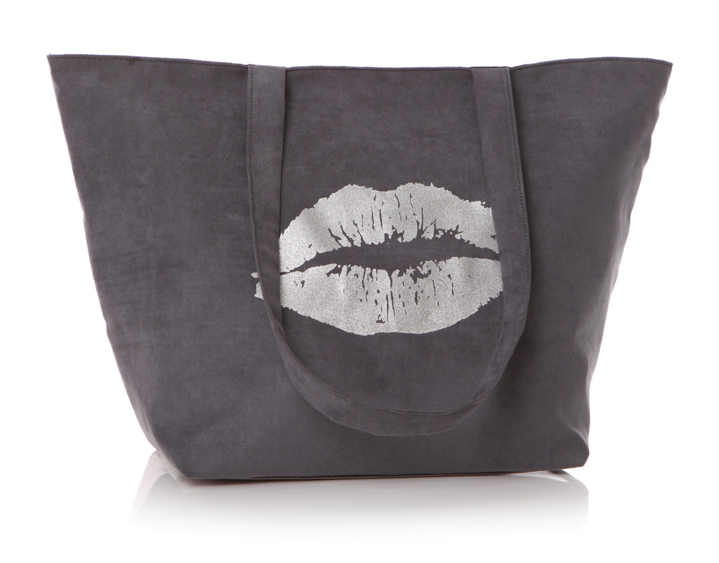 Grey suede effect tote bag with silver lips and shoulder straps