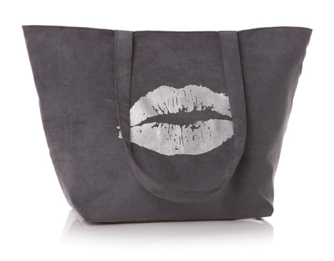 Tote Bag Silver Lips In Grey