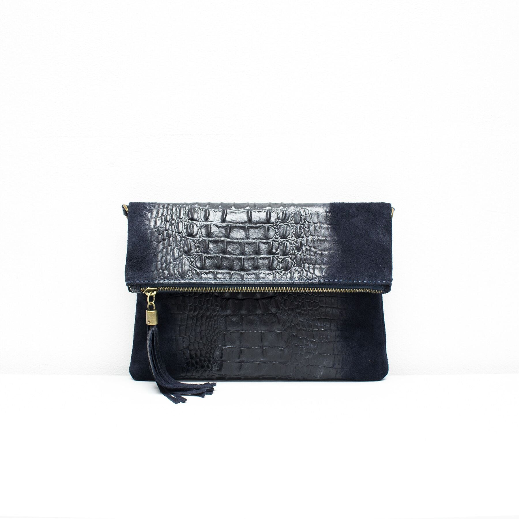 Croc Print Leather Clutch With Detachable Strap - Navy
