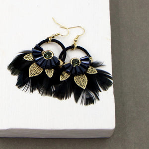 Black feather and bead dream catcher earrings with gold filagree leaves