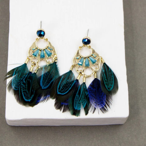 Boho Crystal And Feather Earrings