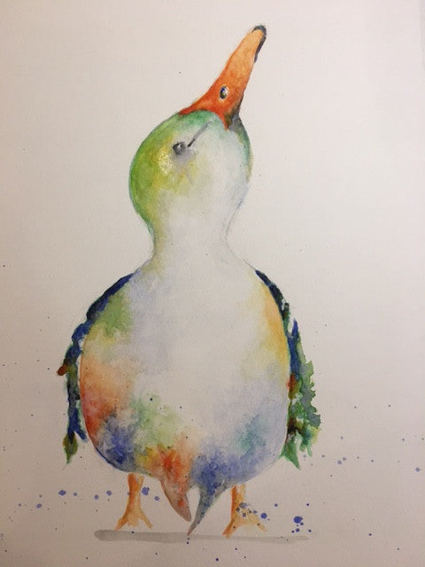 Watercolour print of colourful duck looking up with water splashes