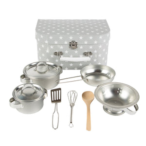 Grey and white stars carry case cooking set with various utensils