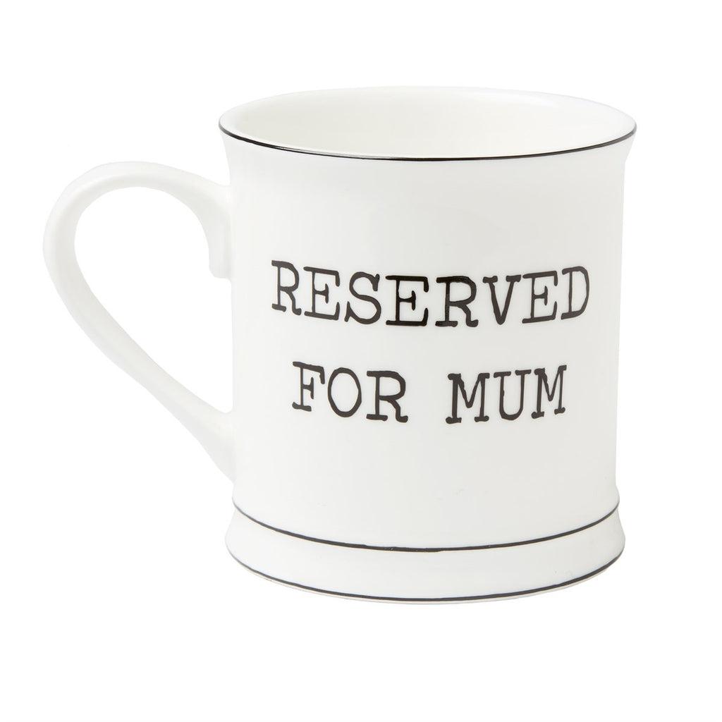 White ceramic mum with black reserved for mum text