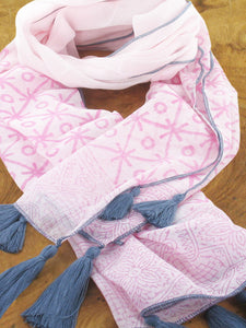Light pink cotton scarf with dark pink circle and star design and grey tassels and trim