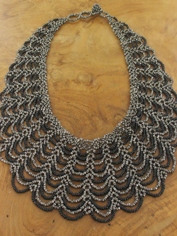 Beaded Collar Necklace - Black And Grey