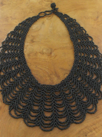 Beaded Collar Necklace - Black