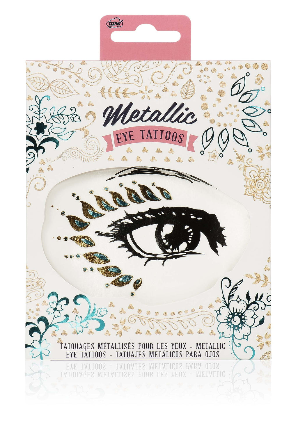 Metallic eye tattoos in colourful package