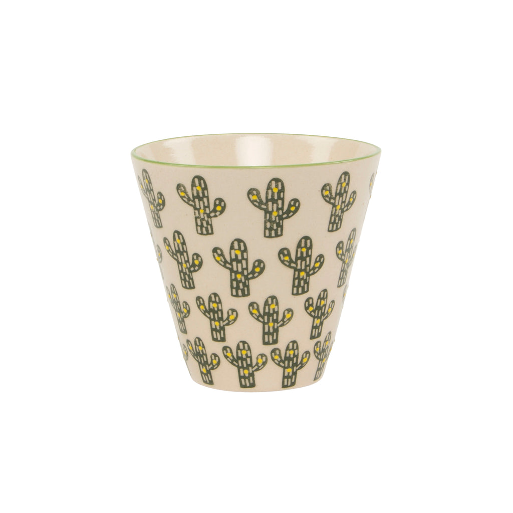 Small plant pot with green and yellow cactus design