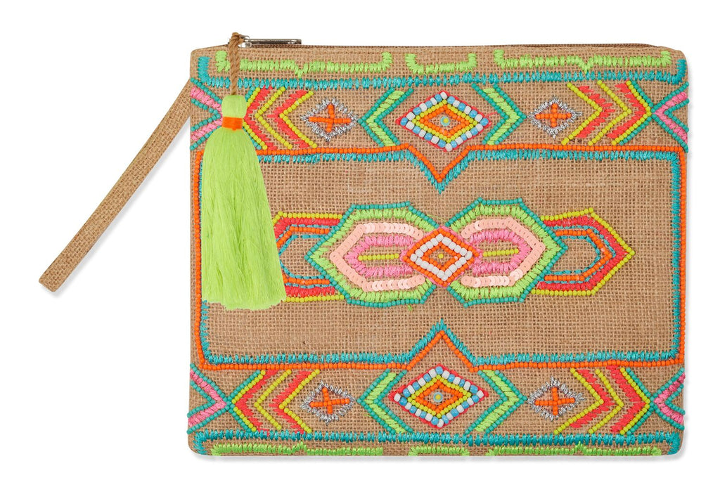 sisal clutch with fluoro beaded geo design yellow fluoro tassel