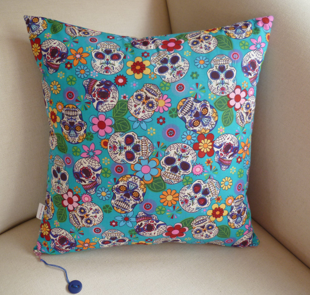 Sugar Skulls Cushion, Turquoise