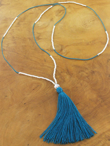Delicate Tassel Necklace - Teal
