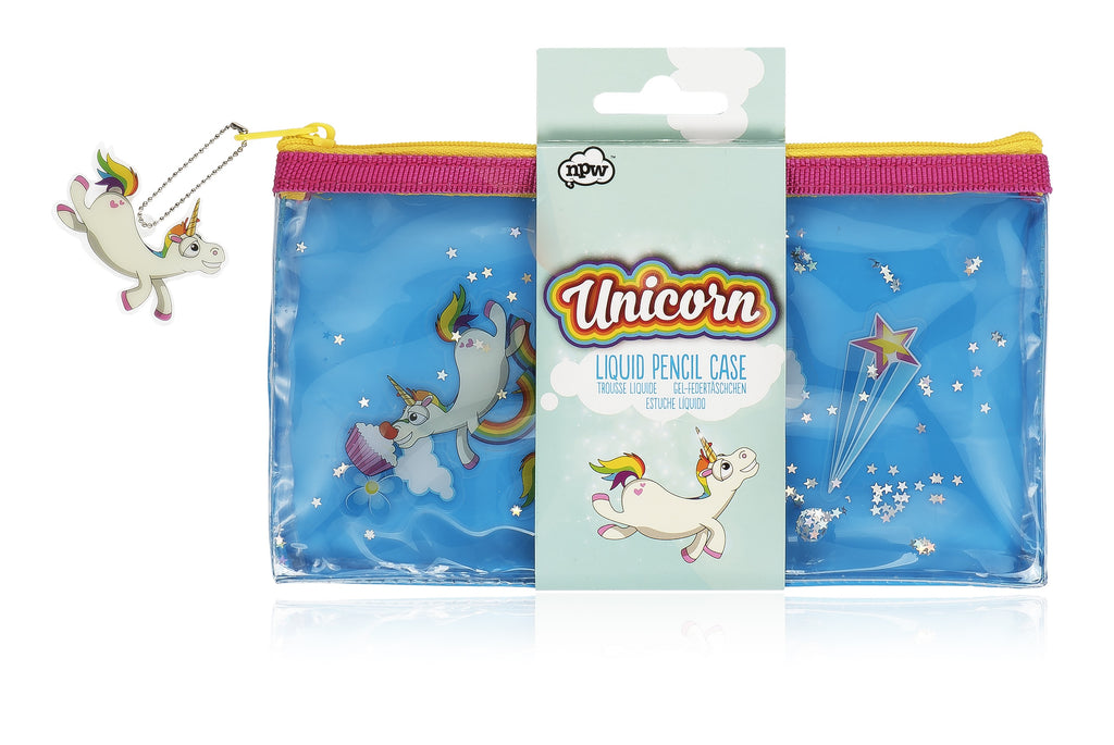 Blue, pink and yellow pencil case with liquid inside and floating unicorns and stars