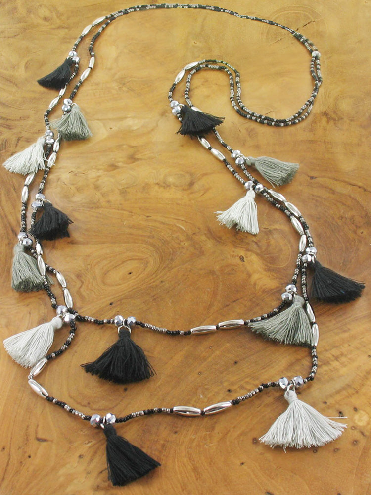Double Strand Tassel Necklace - Black And Grey