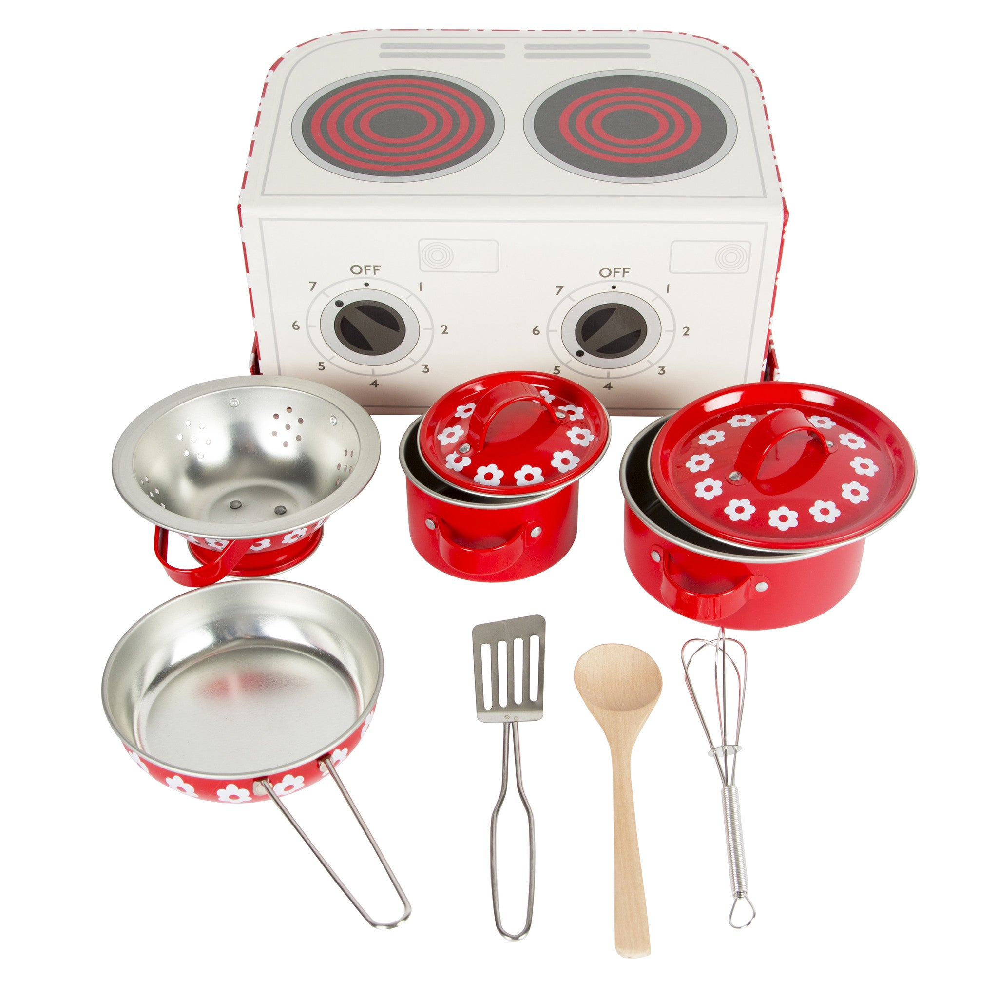 Red and white flower carry case cooking set with various red pots and utensils