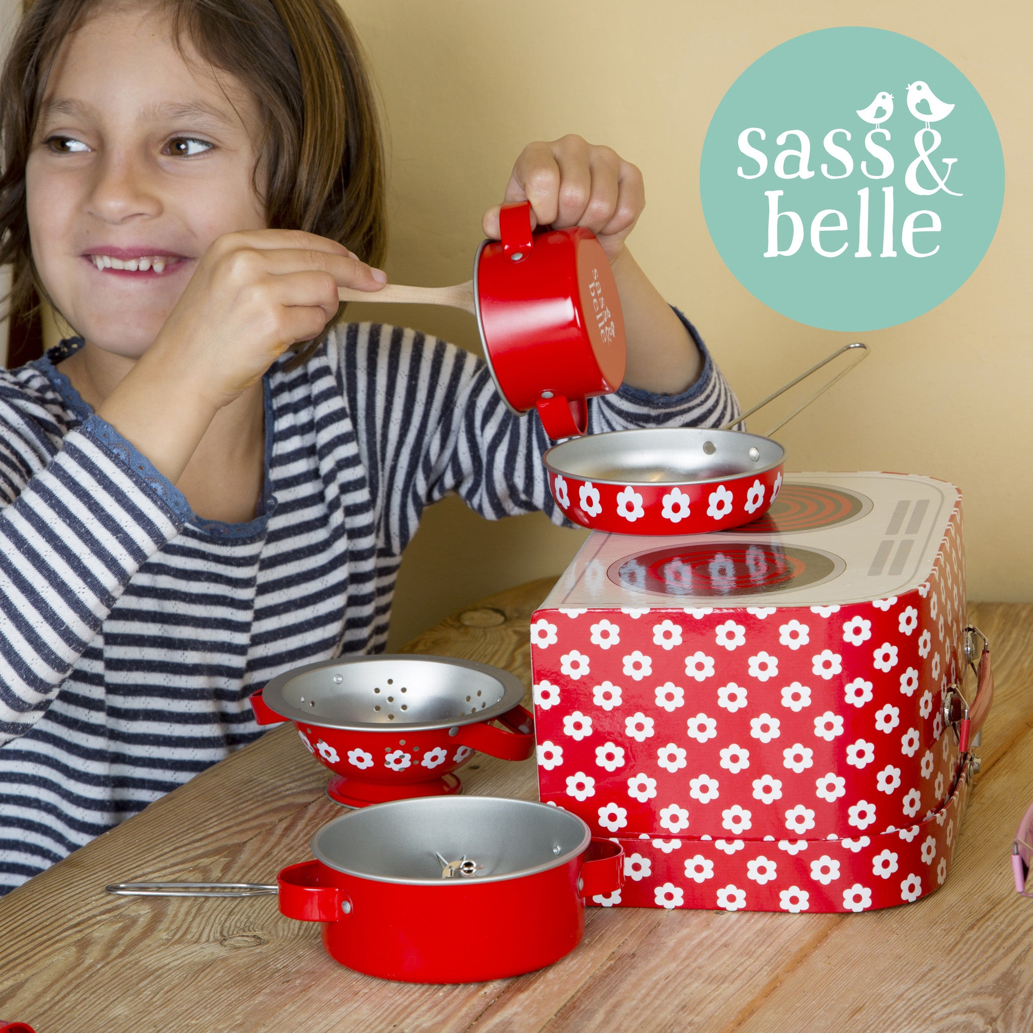 Kids Kitchen Cooking Set, Red Daisies