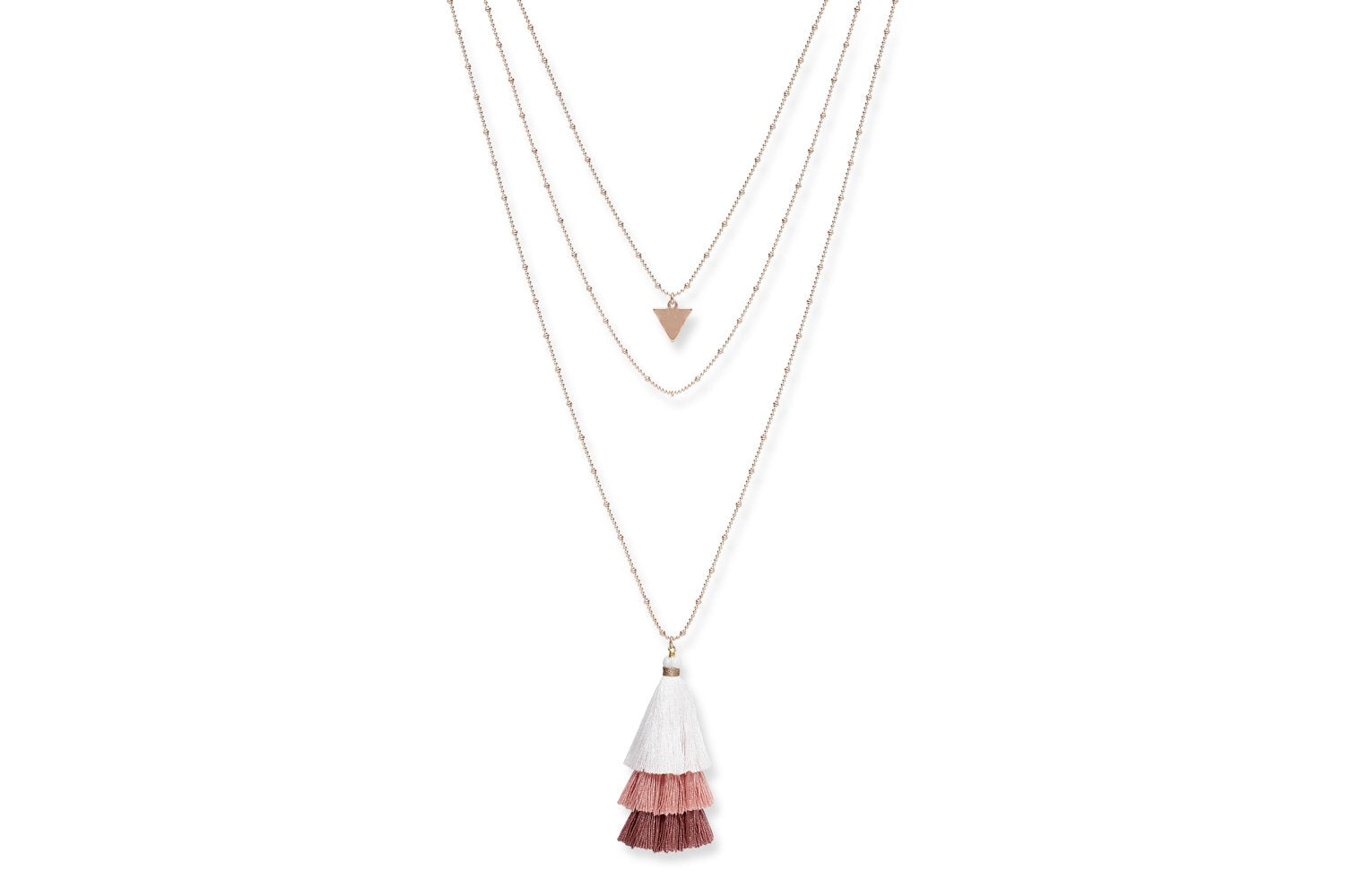 three strand rose gold necklace with pink and white tassels and triangle charm