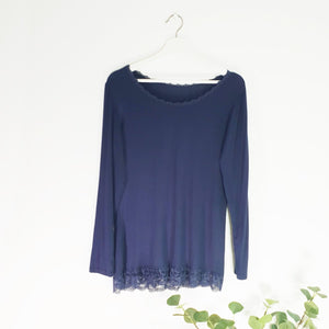 Long Sleeve Top With Lace Trim - Navy