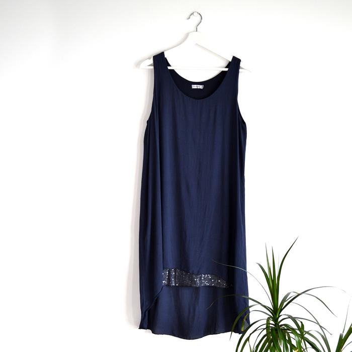 Long Vest Top/Dress With Sequin Panel