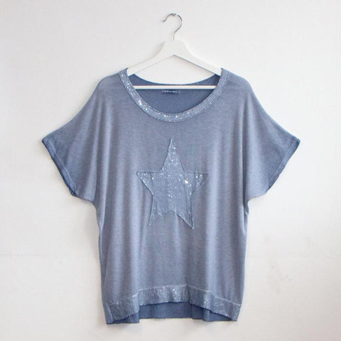 Fine Knit Sequin Star Top - Blue