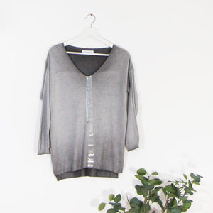 Grey lightweight jumper with silver stripe down front
